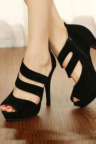 Sexy Round Peep Toe Stiletto High Heels Black Suede Ankle Wrap Sandals