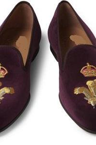 HANDMADE MENS PURPLE CROWN EMBROIDERED LOAFER SLIPPERS, MENS VELVET CASUAL SHOES