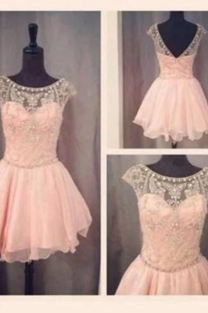 Custom Made Round Neck Short Pink Prom Dresses, Graduation Dresses, Homecoming Dresses