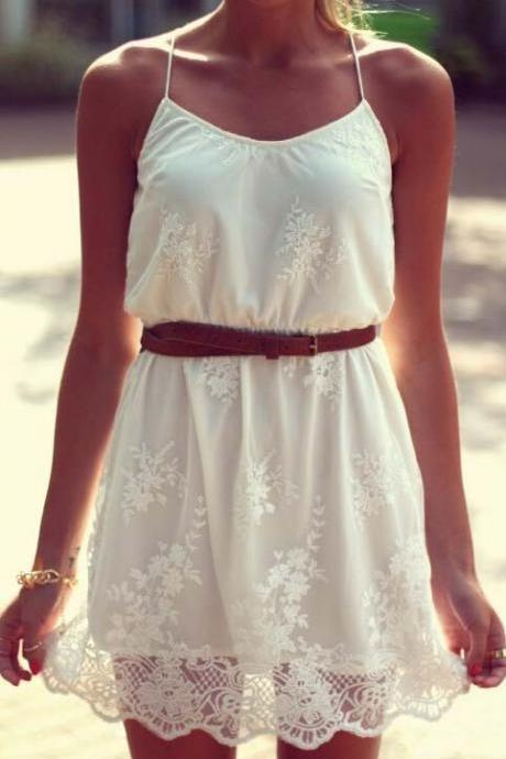 White Embroidered Lace Dress BA721DI