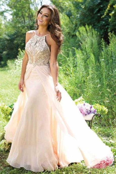 2017 Spaghetti Straps Beaded Bodice A-Line Pink Chiffon Backless Long Prom Dresses Front Split Open Back Prom Dress Handmade Evening Dress Formal Women Prom Gown