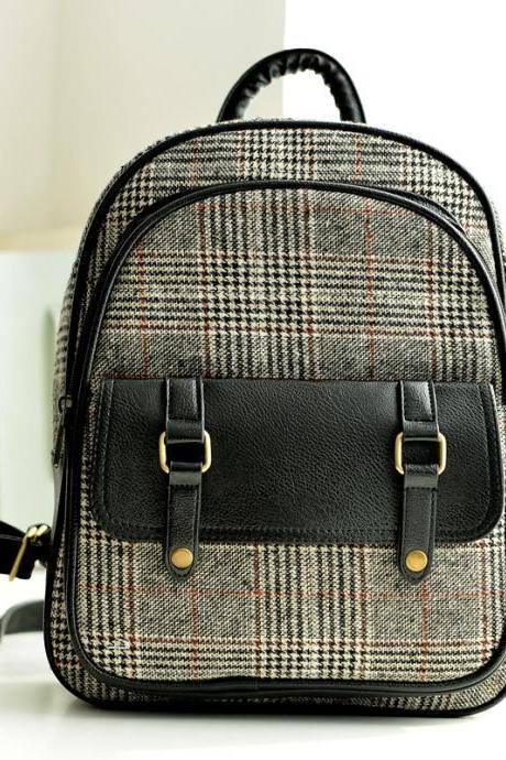 2015 new fashion Fresh Plaid Canvas College Nice Backpack