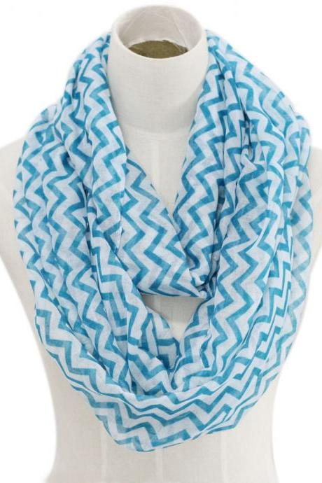 sky blue chevron stripe Sheer cotton infinity scarf loop