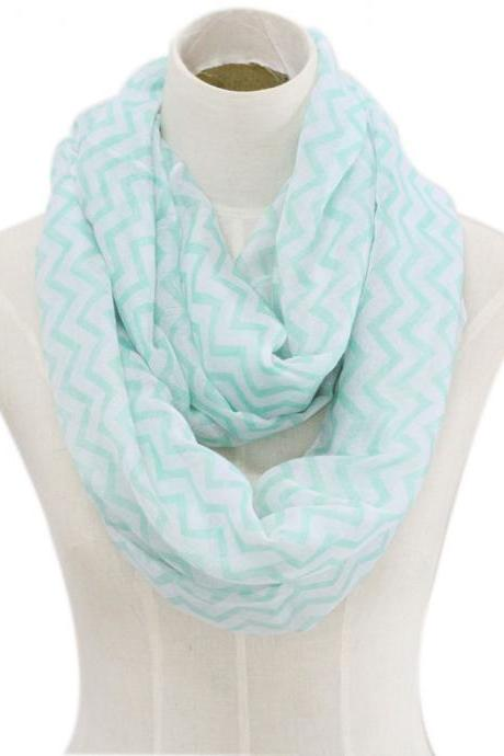 light green chevron stripe Sheer cotton infinity scarf loop