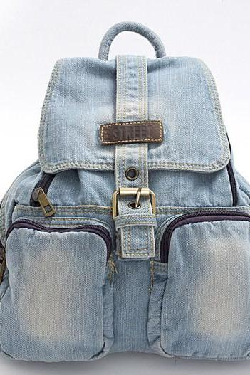 2015 new fashion Light Blue Denim Backpack