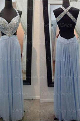 blue backless prom dresses, cheap prom dress, sexy prom dresses, chiffon prom dresses, 2015 prom dresses, sexy prom dresses, dresses for prom, CM322