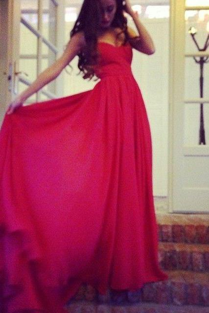 Pretty Simple Red Sweetheart Prom Dresses, Red Prom Dresses 2015, Red Formal gown, Red evening Dresses