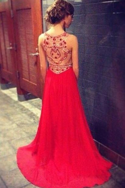unique prom dress, a line red chiffon long prom dress, see thourgh sexy prom dress 2015,custom made full length prom dresses,formal women evening dress,prom gowns