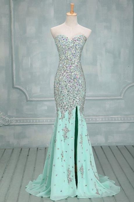 High Quality Mermaid Rhinestones Long Prom Dress Sexy Sweetheart Front Split Mint Chiffon Trumpet Prom Dresses,Prom Dress 2015, Evening Dress, Evening Prom Gown,Wedding Dress