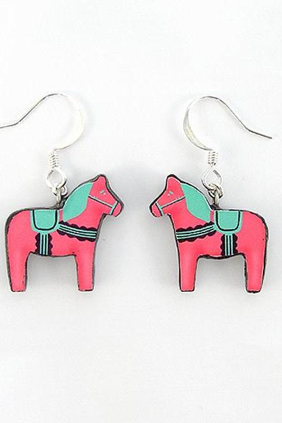 Pink and Green Swedish Dala Horse Earrings