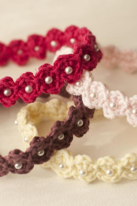 Sale -- Crocheted Adjustable Beaded Baby Headband -- Photography Prop