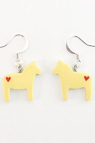 Clay Sculpted Yellow Dala Horse Earrings with Hearts