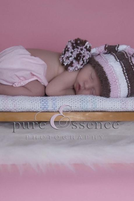 Sale -- Baby Elf Hat -- Neopolitan Ice Cream