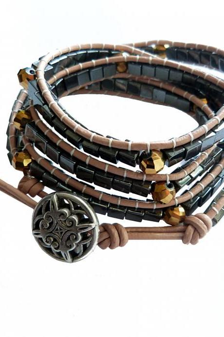 Beaded Leather Wrap Bracelet 4x in Hematite 'Chan Luu Sundance Style Bracelet'
