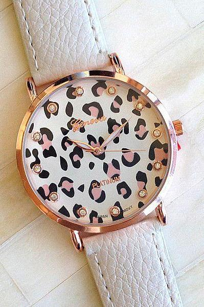 Leopard face PU leather white fashion girl watch