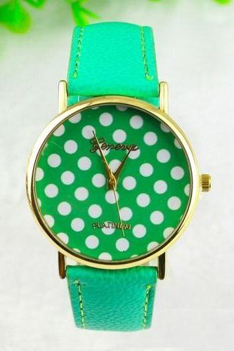 White dots teen girl fashion green party watch