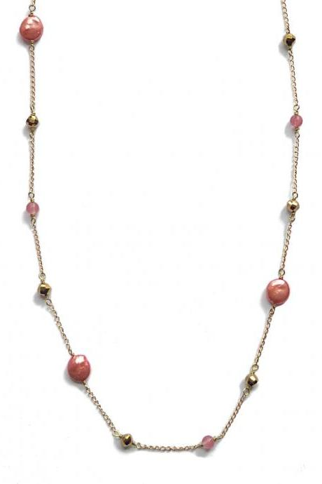 Tangeriene Melon Freshwater Coin Pearl and Yellow Gold Long Layering Necklace