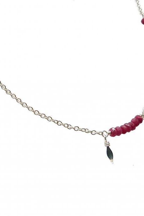 Authentic Handcut RUBY and Silver Plated Delicate Layering Necklace