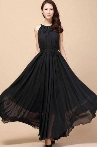 Black Bridesmaids Dress Black Maxi Dresses Teens and Adult Women Black Chiffon Dress