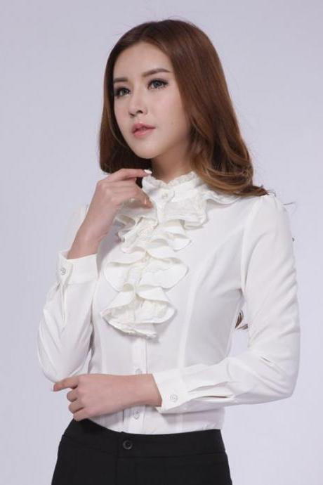 White Blouse Ruffled Blouses White Long Sleeve Tops for Women FREE SHIPPING READY TO SHIP