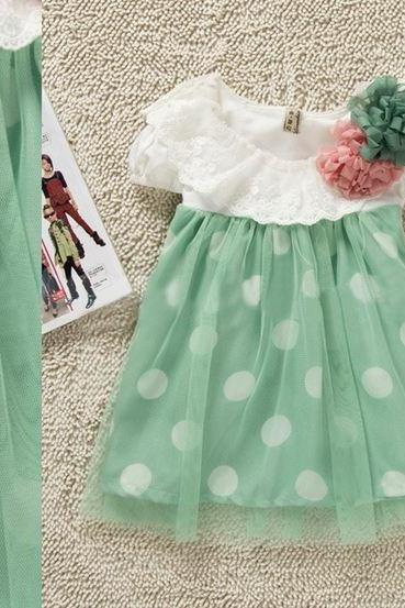 Mintgreen Polka Dots Dress for 3 Months Girls, 6 Months Infant Baby Girls