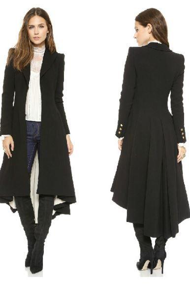British Style Tuxedo Manteau Femme Black Long Coats for Women Ruffled Tail Overcoat