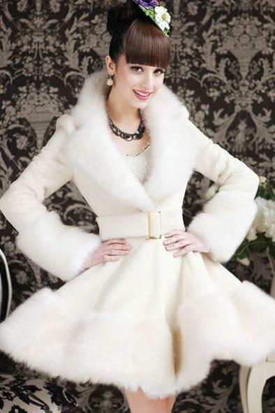 Fur Collar Jacket White Bridal Coat White Wedding Overcoat Faux Fur for Women Bride