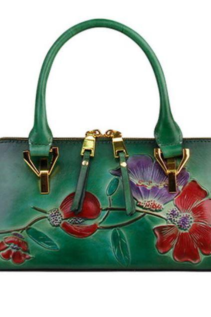 Green Leather Bags for Women Genuine Luxury Tote Green Bags