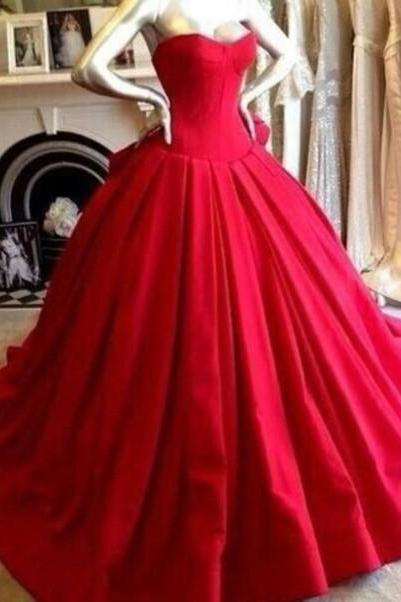 Custom Made Red Sweetheart Neckline Long Ball Gown, Red Prom Dresses