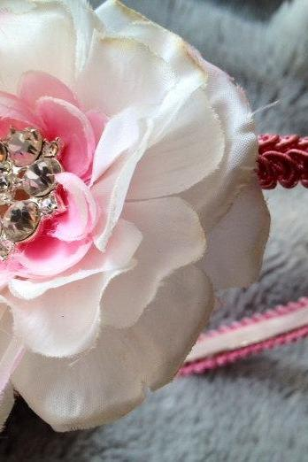 Shabby Chic pink and white toddler headband with extra large rhinestone center