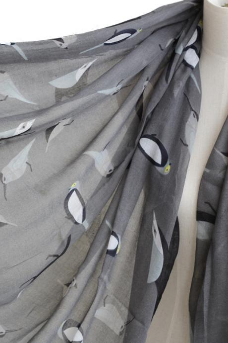unisex grey birds scarf cotton shawl oversize wrap spring summer scarves