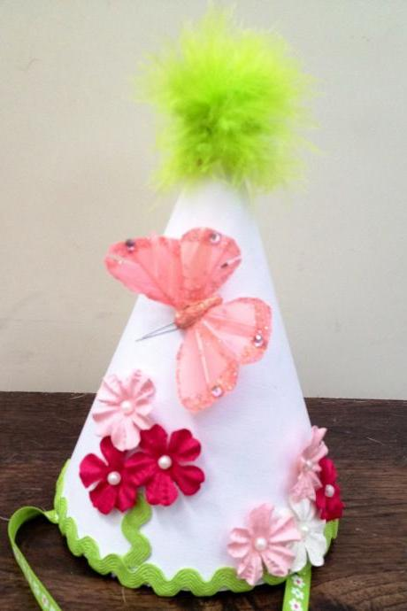 girls pink butterfly and flowers birthday hat, photo prop, special occasion, first birthday hat, toddler birthday hat