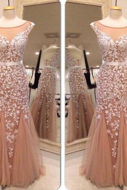 Hot sales white lace mermaid prom dress, long prom dress,trumpet prom dress online, 2015 new prom dress, blush pink prom dress,cap sleeves evening dress,mermaid evening gown,prom gown