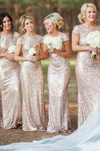 sequin bridesmaid dresses, short sleeve bridesmaid dress, long bridesmaid dress, cheap bridesmaid dresses, bridesmaid dress 2015, BM001