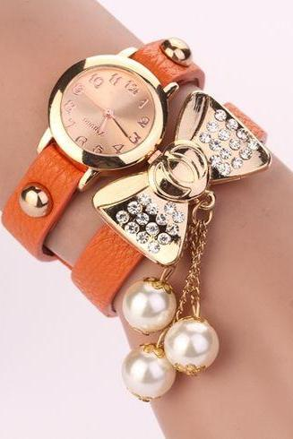 Bow Knot Dress Fashion Orange Rhinestones Woman Watch