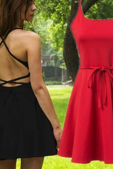Chic Spaghetti Straps Backless Skater Dress