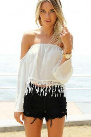White Sexy Strapless Fringe Crop Blouse