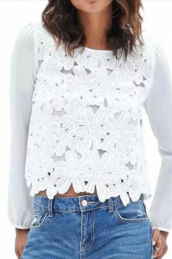 Sweet Crochet Lace Paneled White Blouse