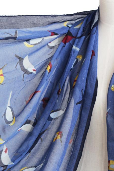 unisex navy blue birds scarf cotton shawl oversize wrap spring summer scarves