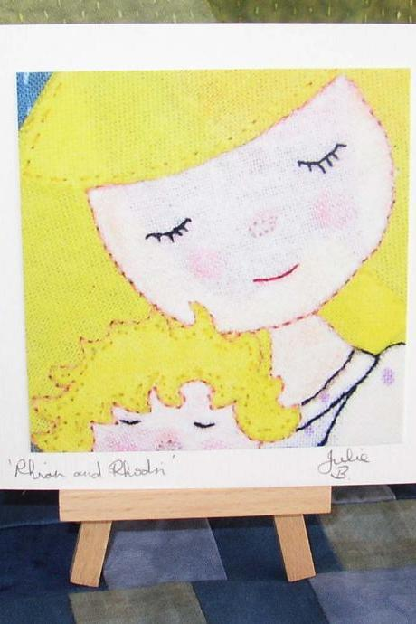 Artists Card by Textile Artist Julie Bull Rhian and Rhodri