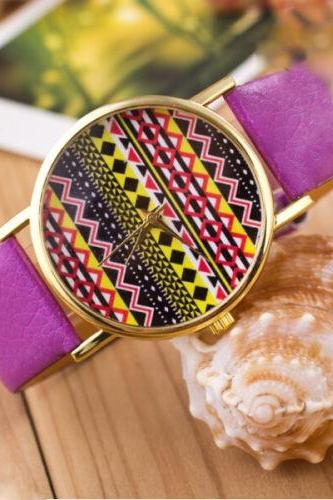 Aztec print watch, Aztec Watch, Aztec Leather Watch, Leather Watch, Bracelet Watch, Vintage Watch, Retro Watch, Woman Watch, Lady Watch, Girl Watch, Unisex Watch, AP00156