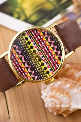 Aztec print watch, Aztec Watch, Aztec Leather Watch, Leather Watch, Bracelet Watch, Vintage Watch, Retro Watch, Woman Watch, Lady Watch, Girl Watch, Unisex Watch, AP00157