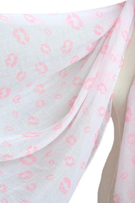 pink lips scarf cotton shawl oversize wrap spring summer scarves