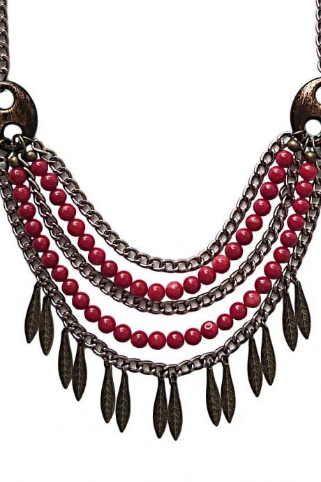 Boho Chic Bronze Feather and Red Coral Statement Bib Necklace