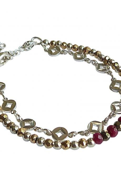 Authentic Handcut RUBY and Pyrite Silver Plated Delicate Layered Bracelet