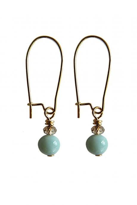 Delicate Genuine Larimar and Swarovski Crystal Dangle Earrings