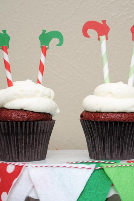Christmas Elf Leg Cupcake Toppers