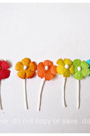 Flat mini mulberry paper flowers colorful / pack