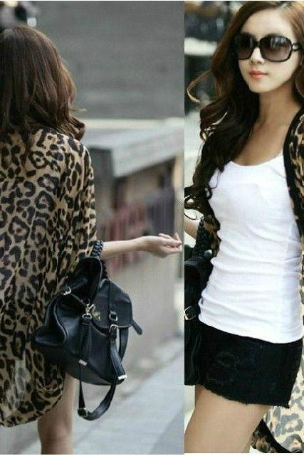 2015 Fashion New Leopard Chiffon Loose Woman Coats Dress Girl Jackets Shawl