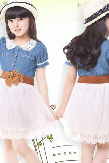 RSSLyn Fashion Summer Dresses 4T Girls Denim Dress for Bigger Girls Toddler Girls Ages 6T,7T,8T,9T Tutu Cowgirl Dresses